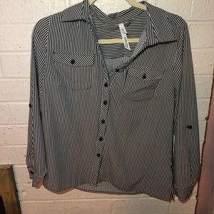 black and white striped button up blouse